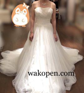 チュール生地のウェディングドレス